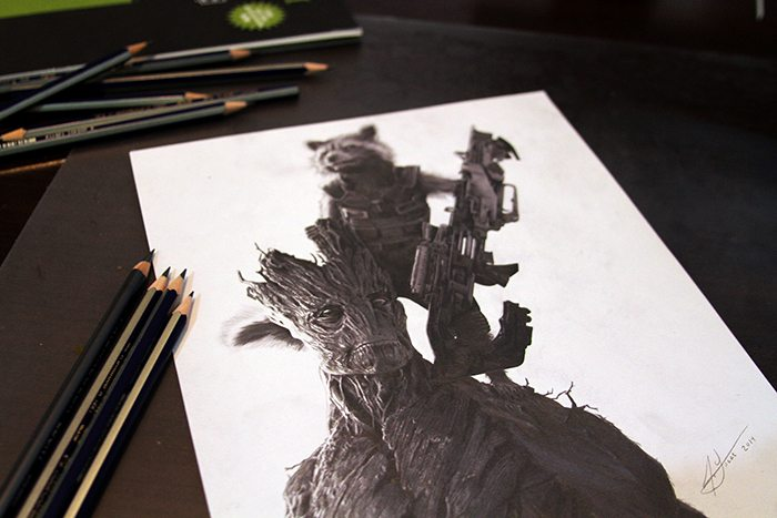 guardians of the galaxy fan art julio lucas groot and raccoon