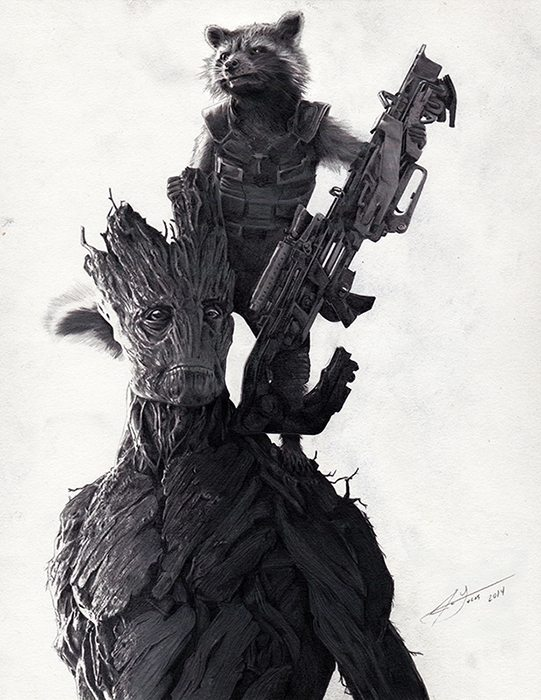 guardians of the galaxy fan art julio lucas raccooon and groot