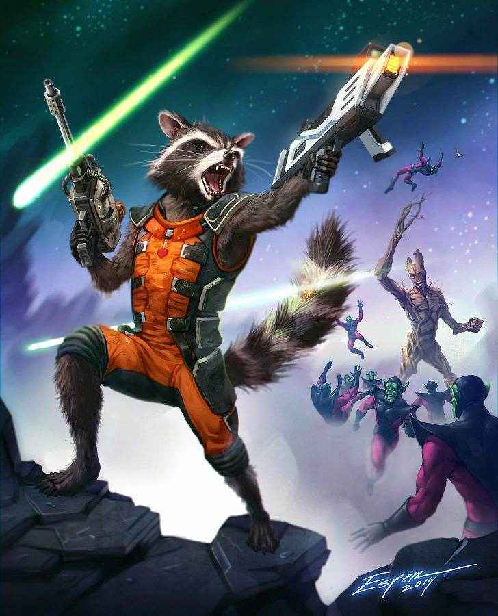 rocket_racoon__and_groot__by_espeng guardians of the galaxy fan art