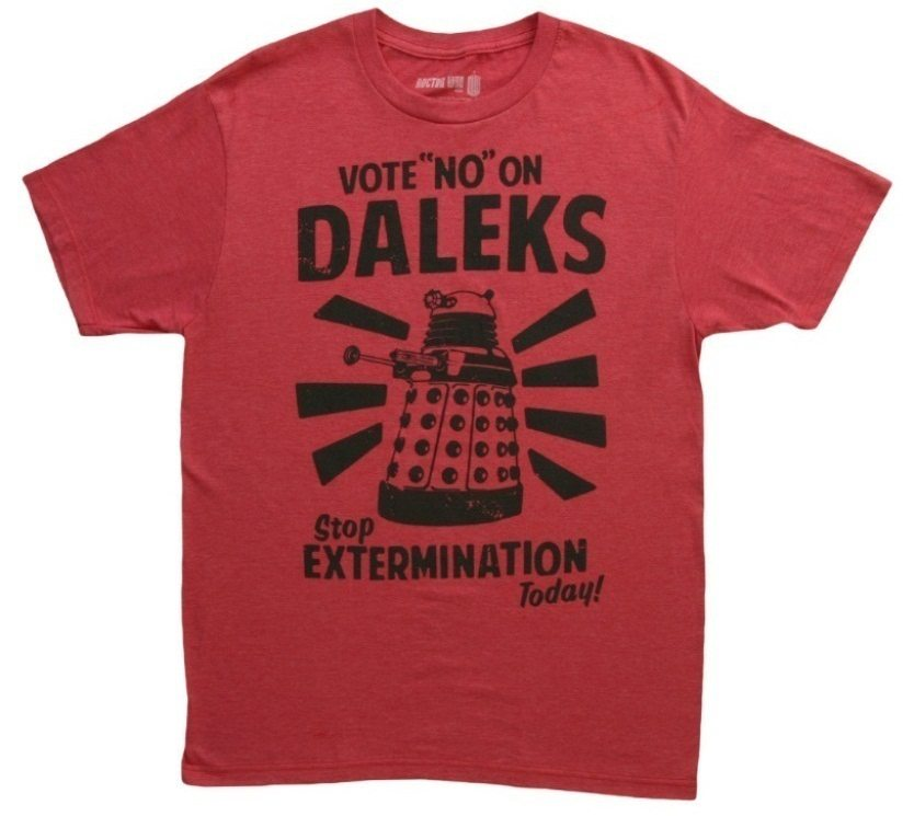 10 Things You Didn't Know about Doctor Who doctor-who-vote-no-on-daleks-tshirt-front