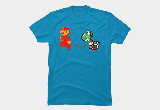 Mario Walking His Yoshi