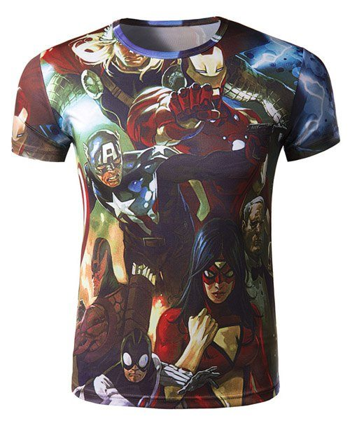 3D Cartoon Characters Print Slimming Round Neck Short Sleeve Trendy Polyester Quick-Dry T-Shirt For Men