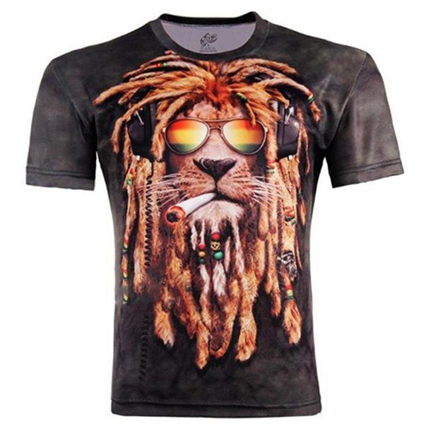 3D Hip-Hop Dog Pattern Round Neck Short Sleeve Slimming Stylish Cotton Blend T-Shirt For Men