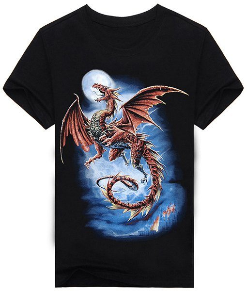 Abstract 3D Dragon and Moon Print Round Neck Short Sleeves T-Shirt For Men