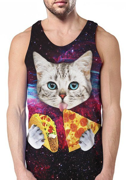 Funny Foods and Cat 3D Print Round Neck Sleeveless Men's Tank Top