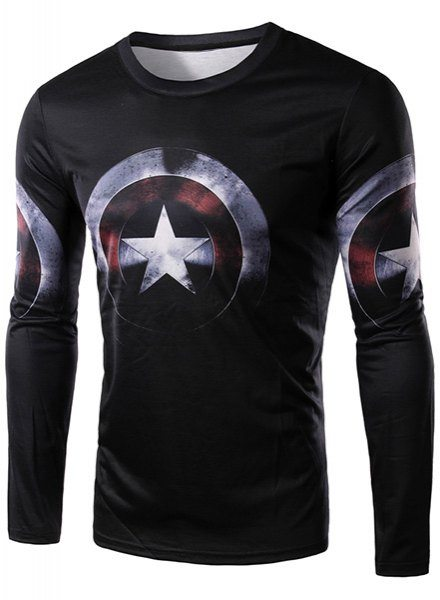 Round Neck 3D Captain America Shield Print Long Sleeve T-Shirt For Men