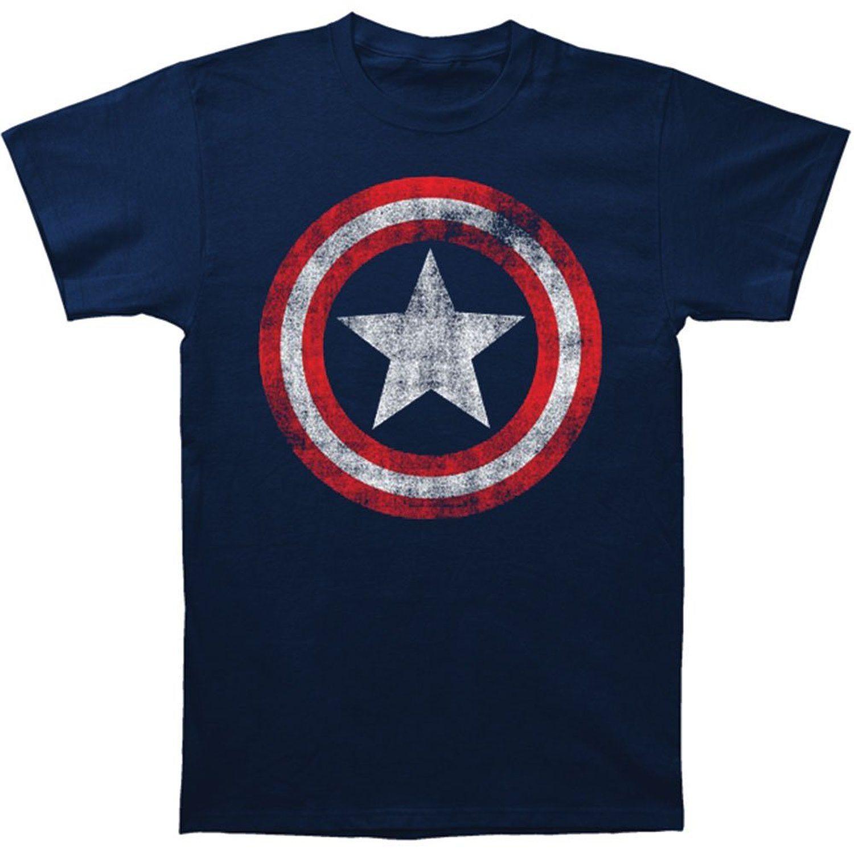 Impact Merchandising Captain America Navy Distressed Shield T-Shirt