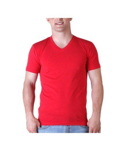 Red Blank T-Shirts – Premium CVC V-Neck