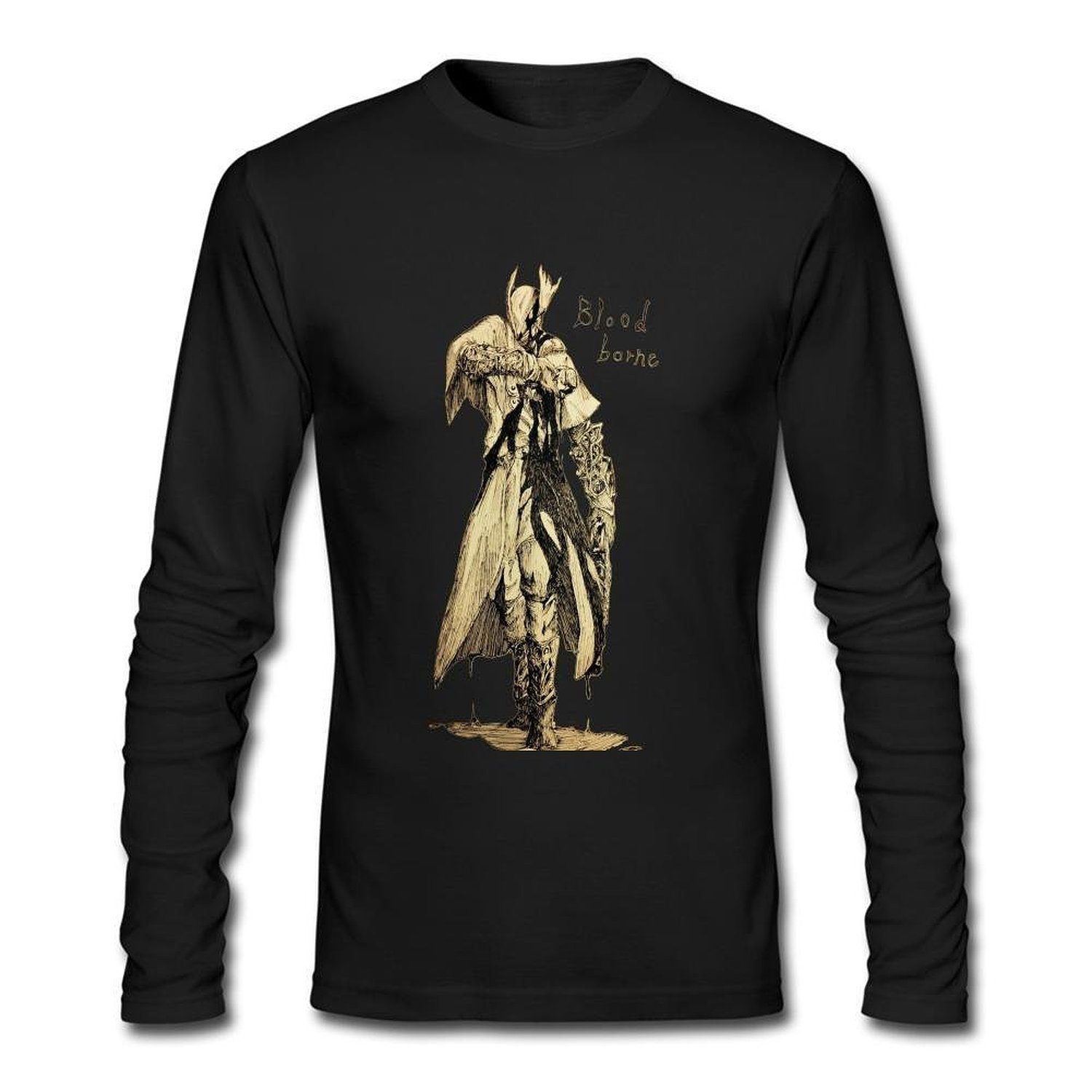 Design O Neck Long Sleeves T-shirt for Man 100% Organic Cotton-Bloodborne The Old Hunters Drawing