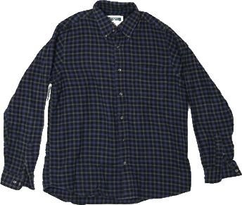 Vintage Black, Gray and Blue Flannel – Medium