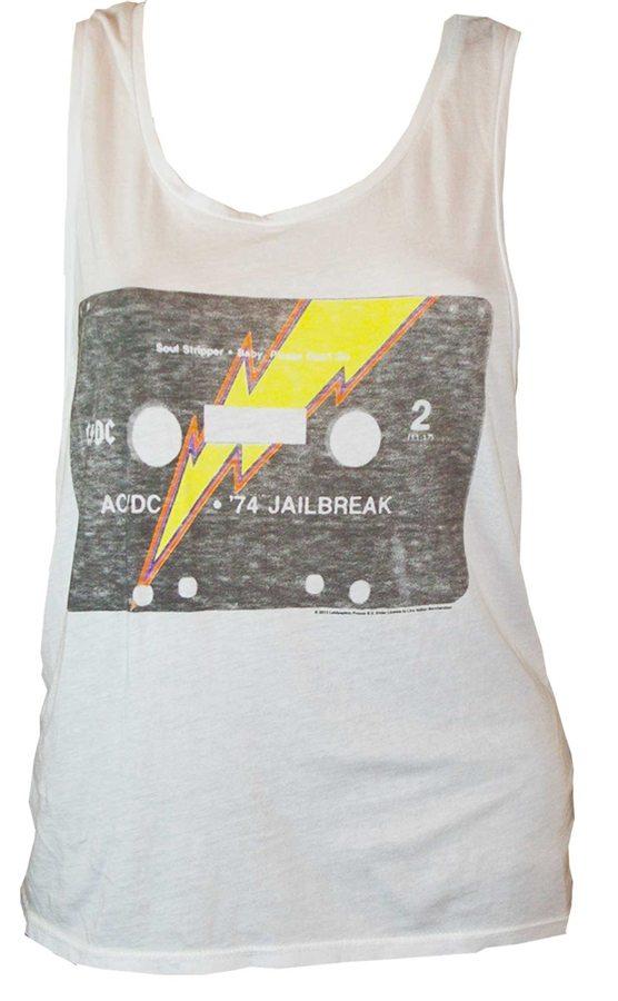 Women's AC/DC Jailbreak Tank T-Shirt in White by Junk Food