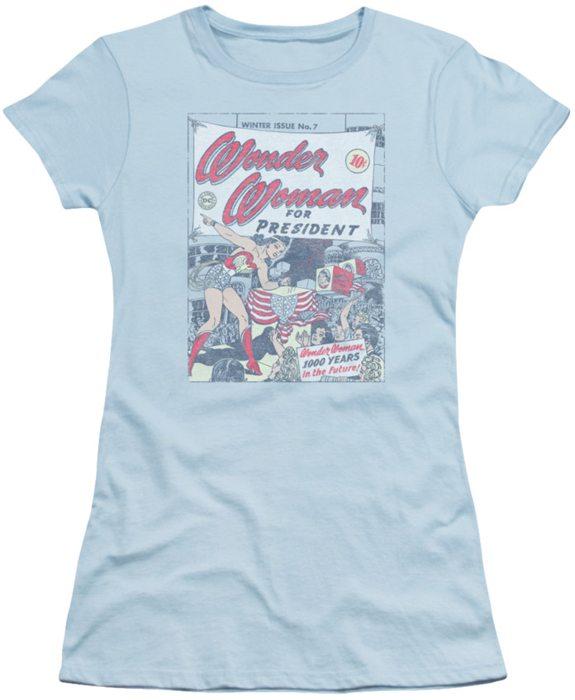 DC Comics juniors t-shirt Wonder Woman For President light blue