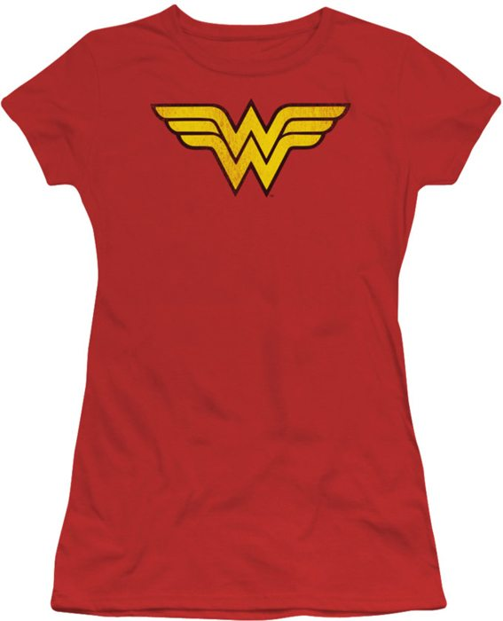 DC Comics juniors t-shirt Wonder Woman Logo Distressed red