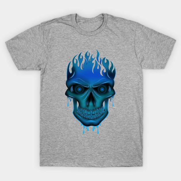 Flame Skull – Blue T-Shirt