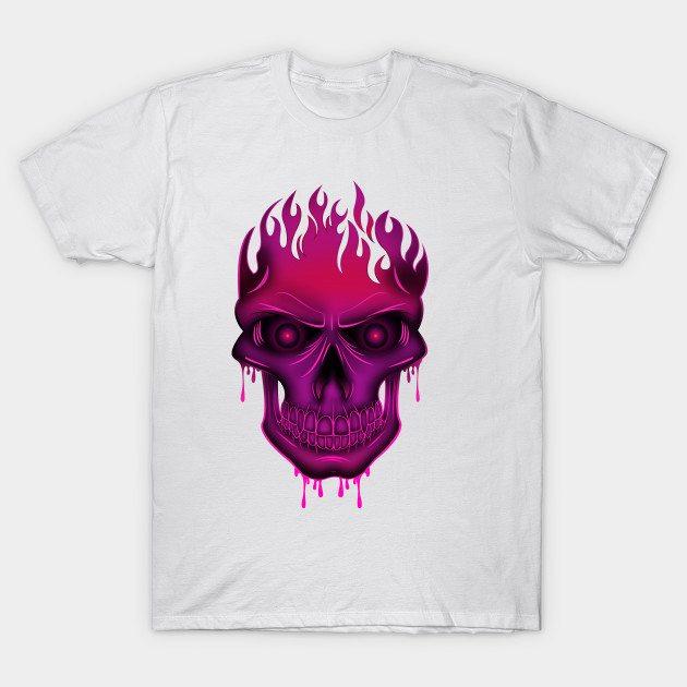 Flame Skull – Hot Pink T-Shirt