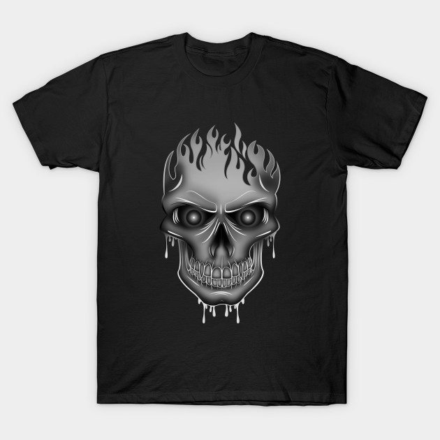 Flame Skull – Silver T-Shirt