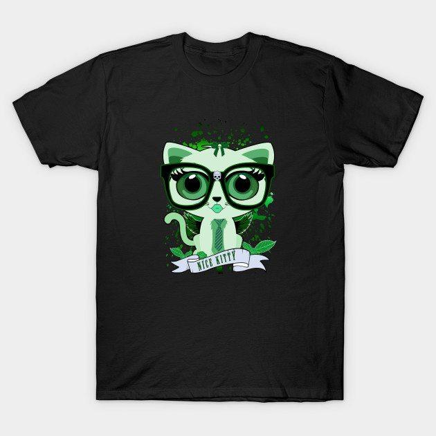 Nice Kitty – Green T-Shirt