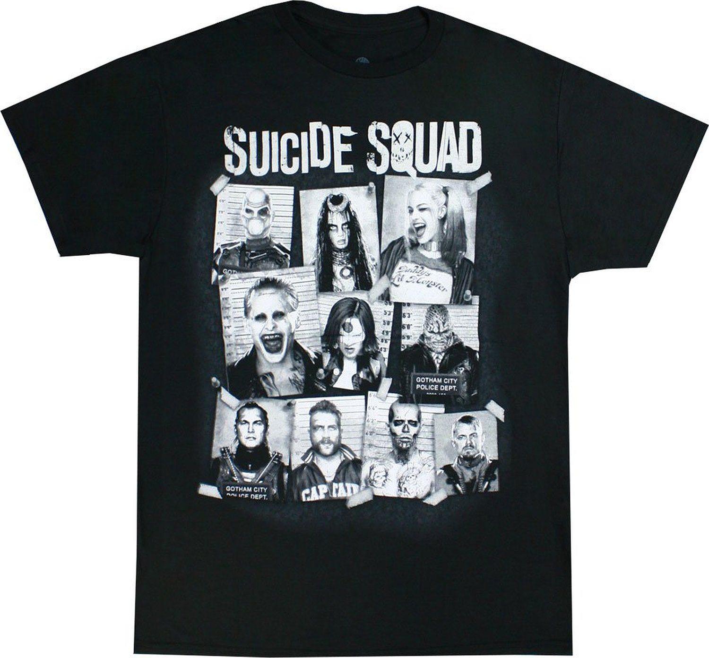 Suicide Squad Group Cork Board Men's Black Shirt