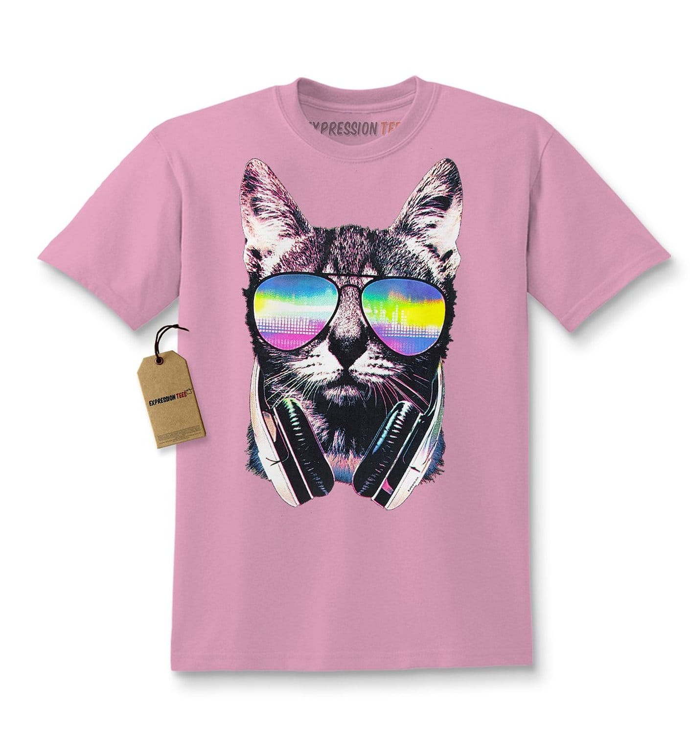 Expression Tees Cool Cat DJ Cat with Headphones Kids