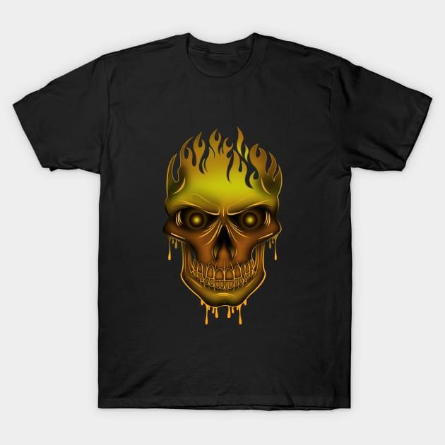 Flame Skull – Gold T-Shirt