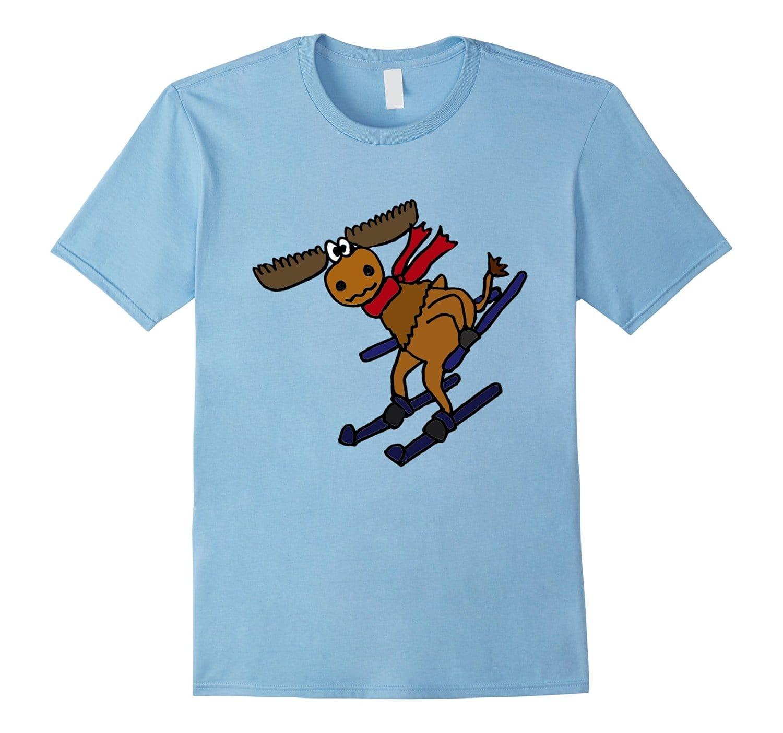 Smiletodaytees Funny Moose Snow Skiing
