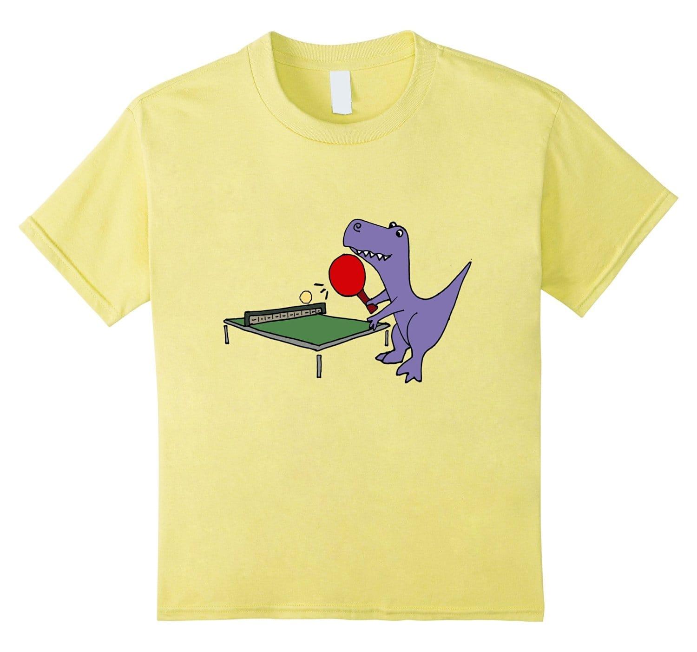Smiletodaytees T-rex Dinosaur Playing Table Tennis