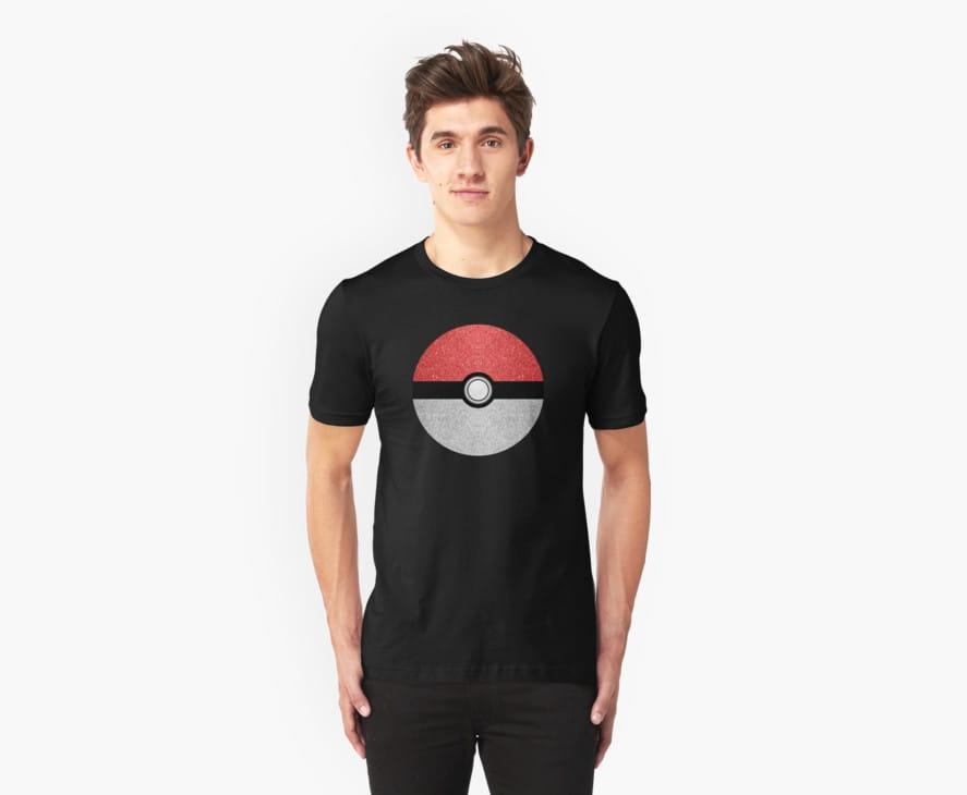 Sparkly red and silver sparkles poke ball