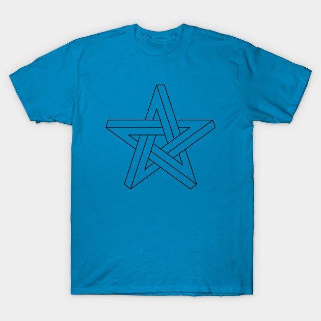 3D impossible pentagram black T-Shirt
