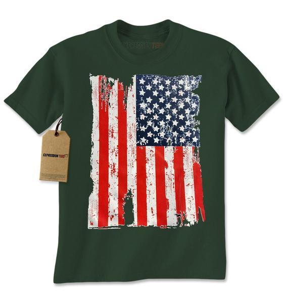 Distressed American USA Flag Mens T-shirt