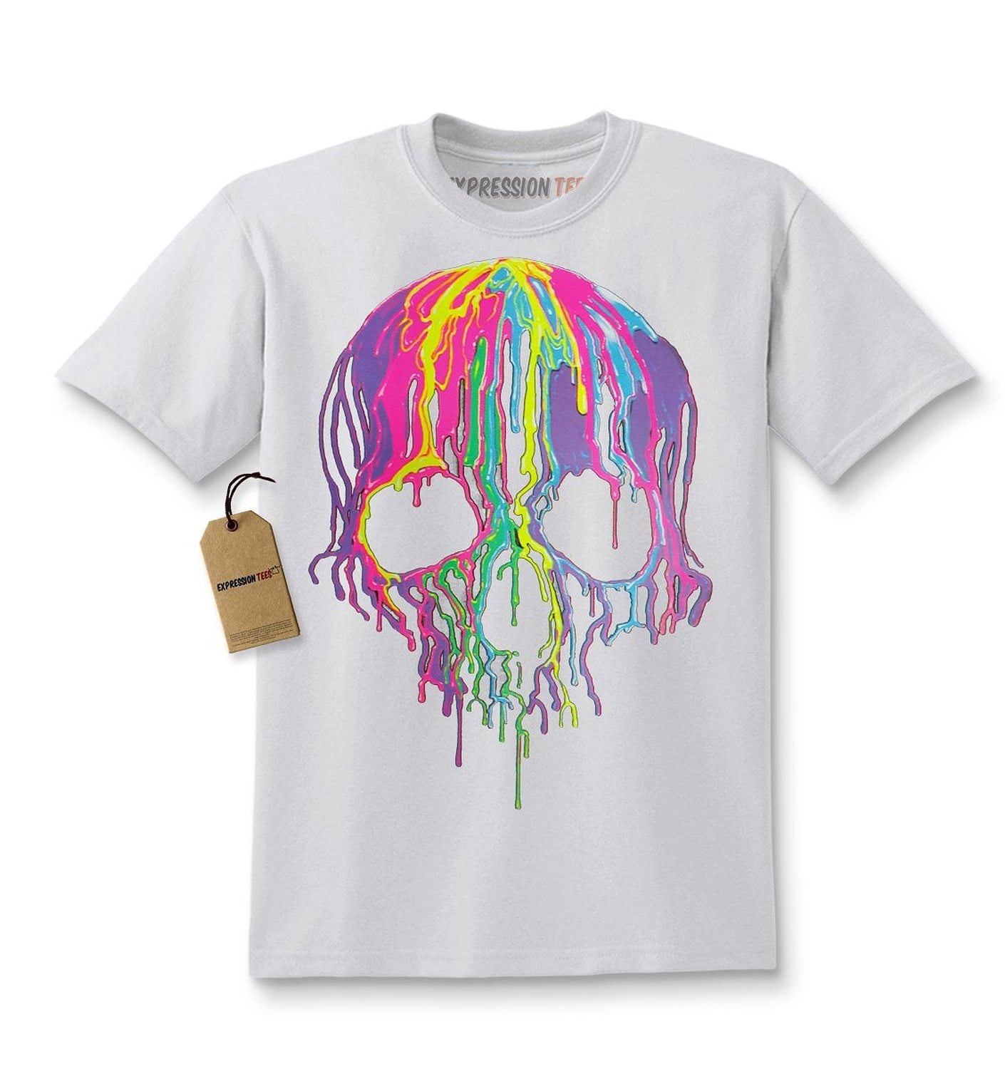 Expression Tees Neon Drippping Skull Blacklight Reactive Kids