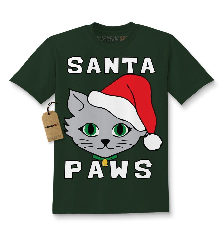 Expression Tees Santa Paws Cat Kitten Ugly Christmas Kids