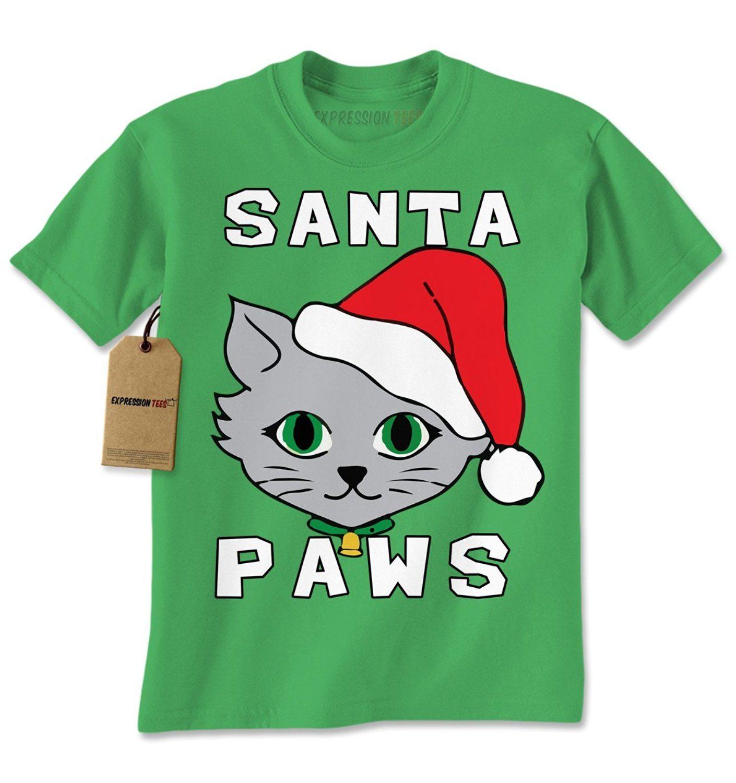 Expression Tees Santa Paws Cat Kitten Ugly Christmas Mens