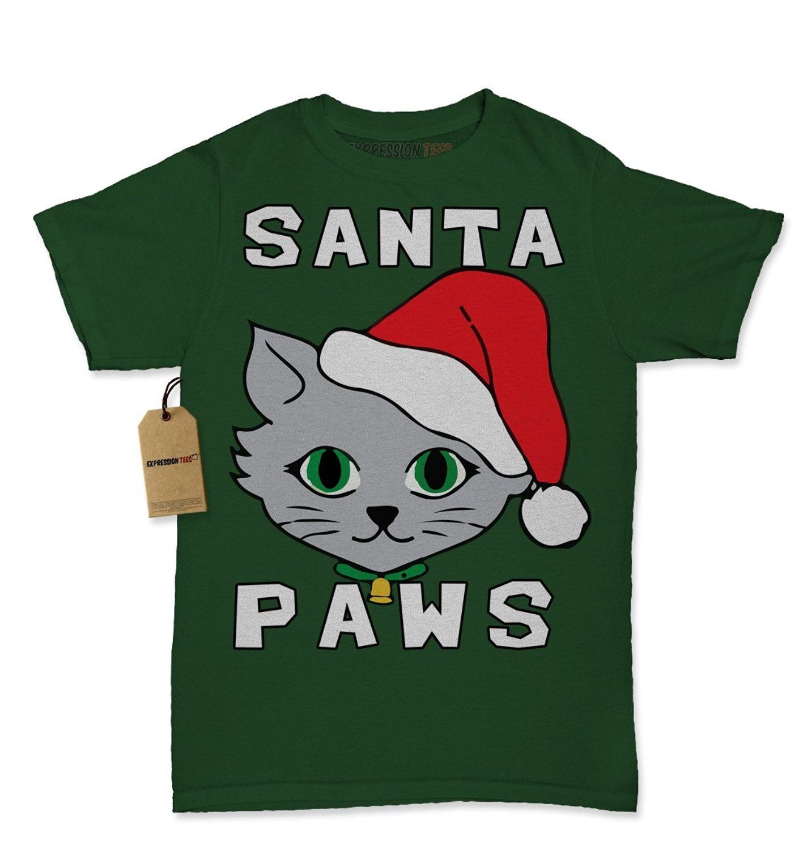 Expression Tees Santa Paws Cat Kitten Ugly Christmas Womens