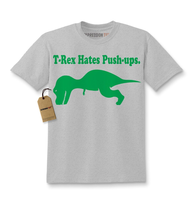Expression Tees T-Rex Hates Push-ups Funny Dinosaur Kids