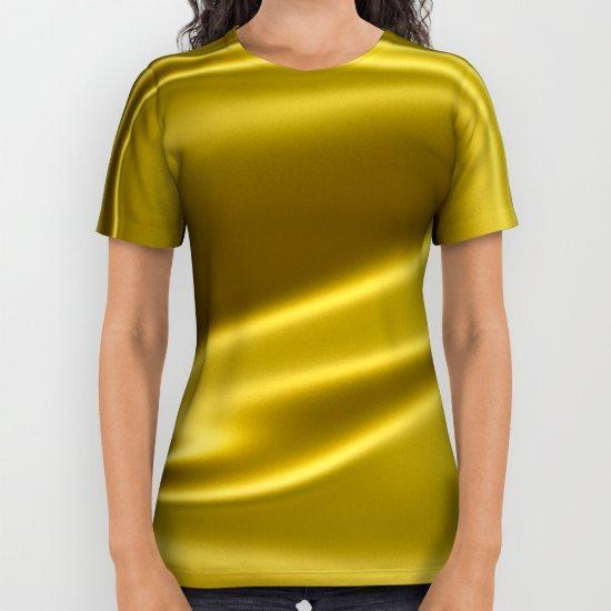 Gold sparkling silk folds All Over Print Shirt