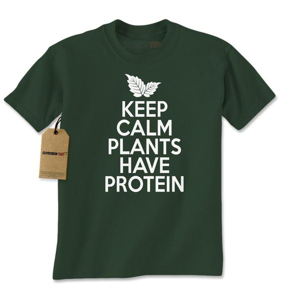 Keep Calm Plants Have Protein Vegetarian Mens T-shirt