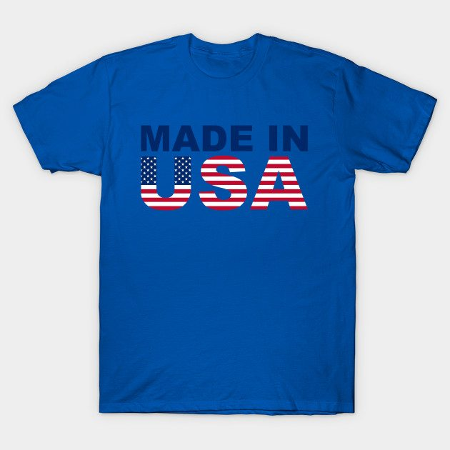 Made in USA text with USA flag T-Shirt