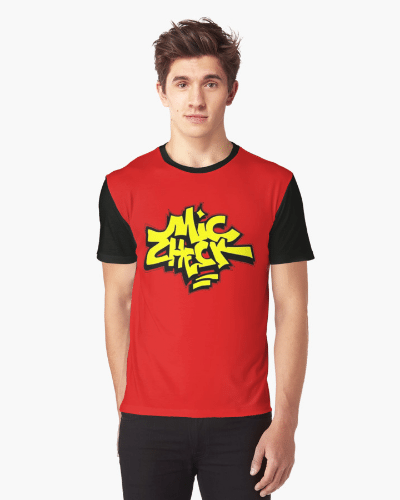 Mic Check Graphic Tee – Red/Black/Yellow
