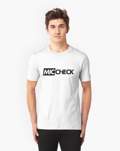 Mic Check Slogan Tee – White/Black