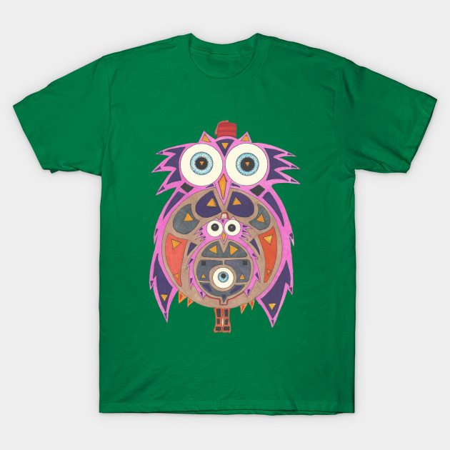 Momma Owl with Red Fez T-Shirt