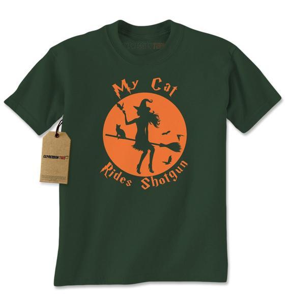 My Cat Rides Shotgun Witch on Broom Mens T-shirt