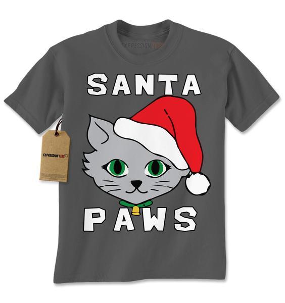Santa Paws Cat Kitten Ugly Christmas Mens T-shirt
