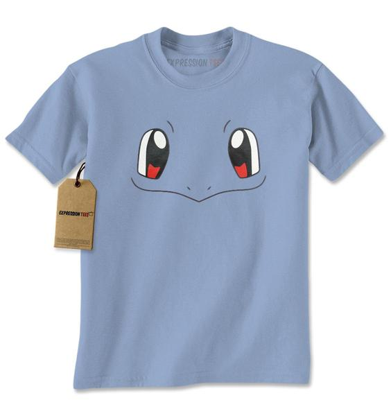 Squirtle Blue Pokemon Funny Face Mens T-shirt