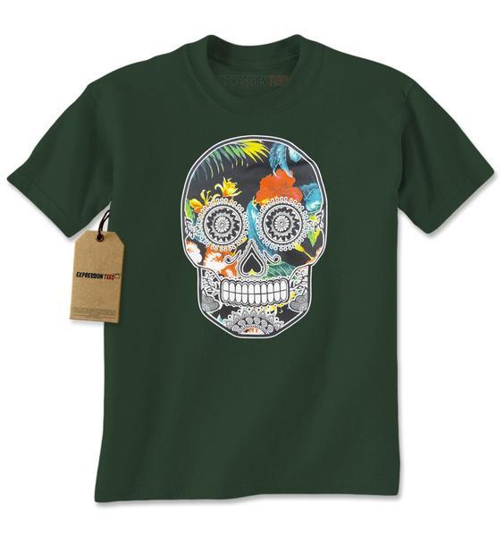 Sugar Skull Floral Print Dia De Los Muertos Mens T-shirt