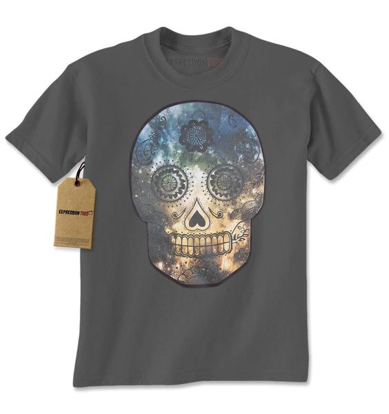 Sugar Skull Galaxy Dia De Los Muertos Mens T-shirt