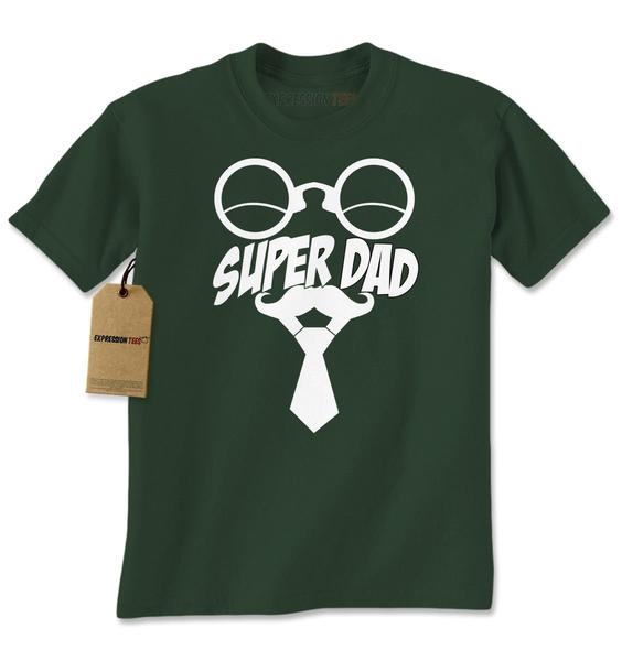 Super Dad Mustache Tie Glasses Fathers Day Mens T-shirt