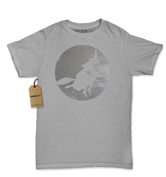 Halloween Witch On Broom (Glitter) Womens T-shirt