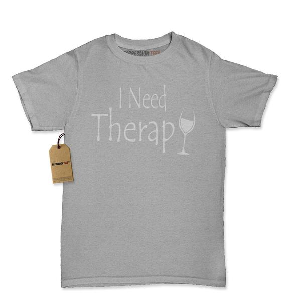 I Need Therapy Wine Glass Womens T-shirt