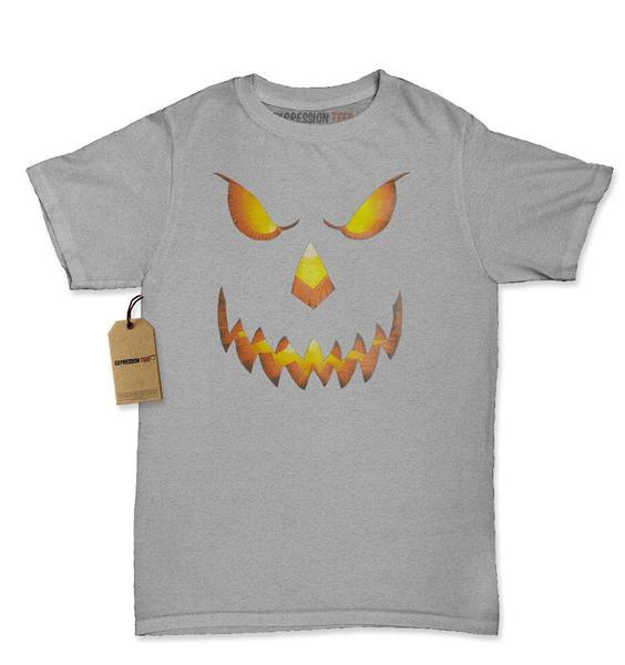 Jack-O-Lantern Glowing Pumpkin Face Womens T-shirt