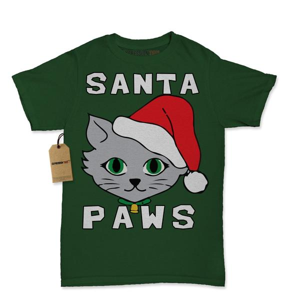 Santa Paws Cat Kitten Ugly Christmas Womens T-shirt